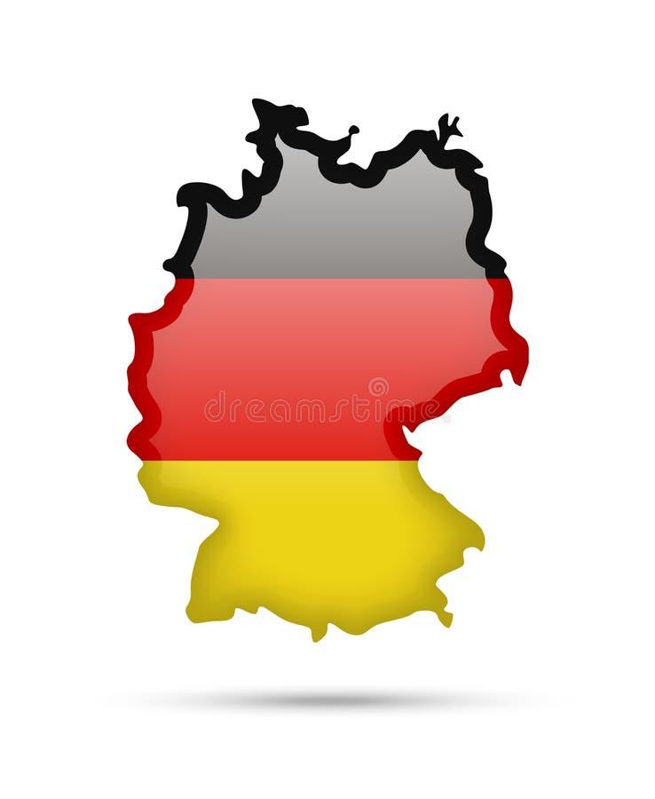 De vlag van Duitsland en contour van het land vector illustratie