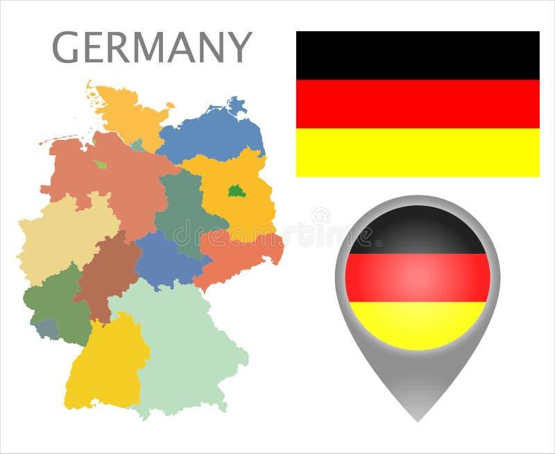 De vlag van Duitsland, kaartwijzer en kaart met administratieve afdelingen vector illustratie
