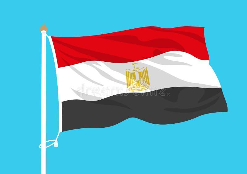 De vlag van Egypte het golven vector illustratie