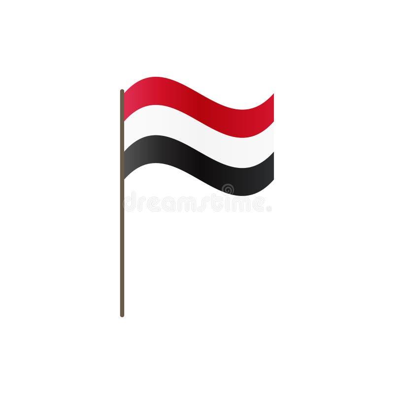 De vlag van Egypte op de vlaggestok Officieel kleuren en aandeel correct Het golven van de vlag van Egypte op vlaggestok, vectori royalty-vrije illustratie