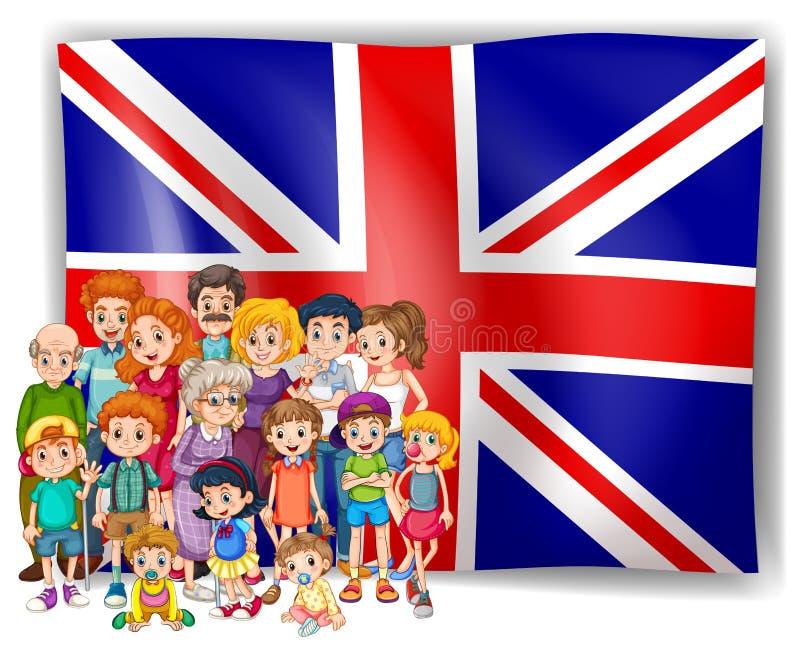 De vlag van Engeland en hun mensen royalty-vrije illustratie