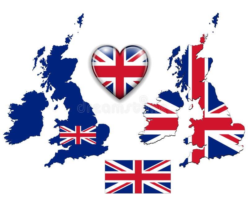 De vlag van Engeland het UK, kaart.