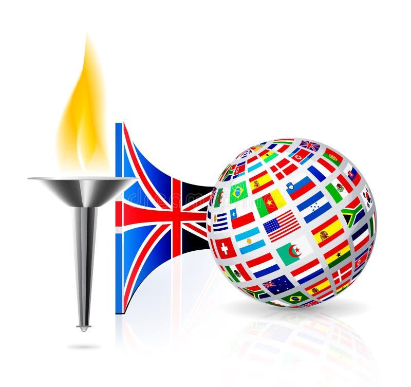 De vlag van Engeland met toorts vector illustratie