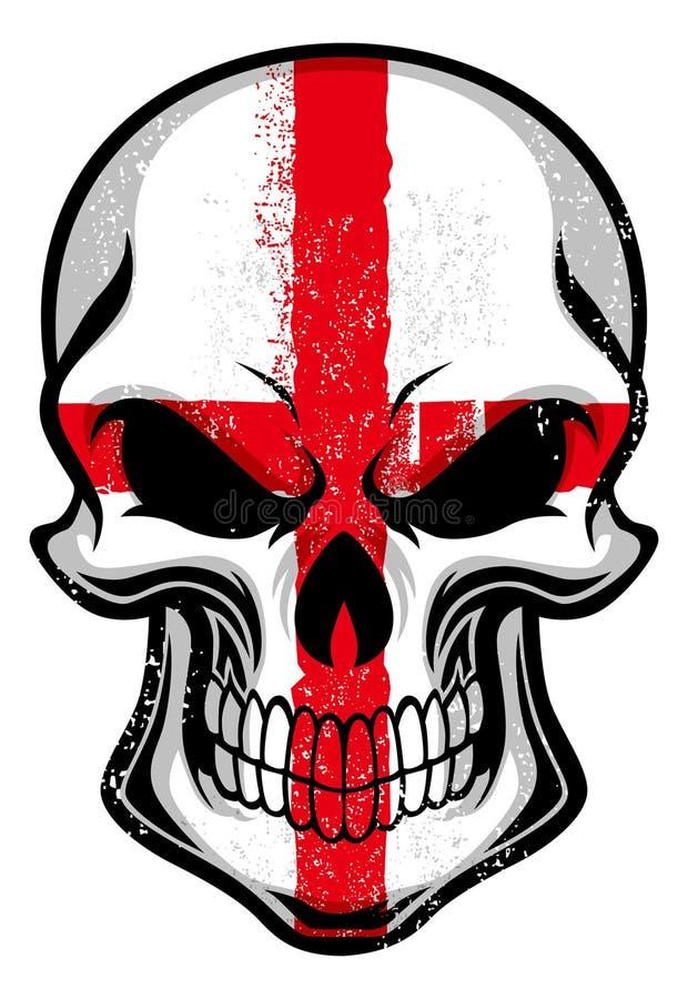 De vlag van Engeland op een schedel wordt geschilderd die royalty-vrije illustratie