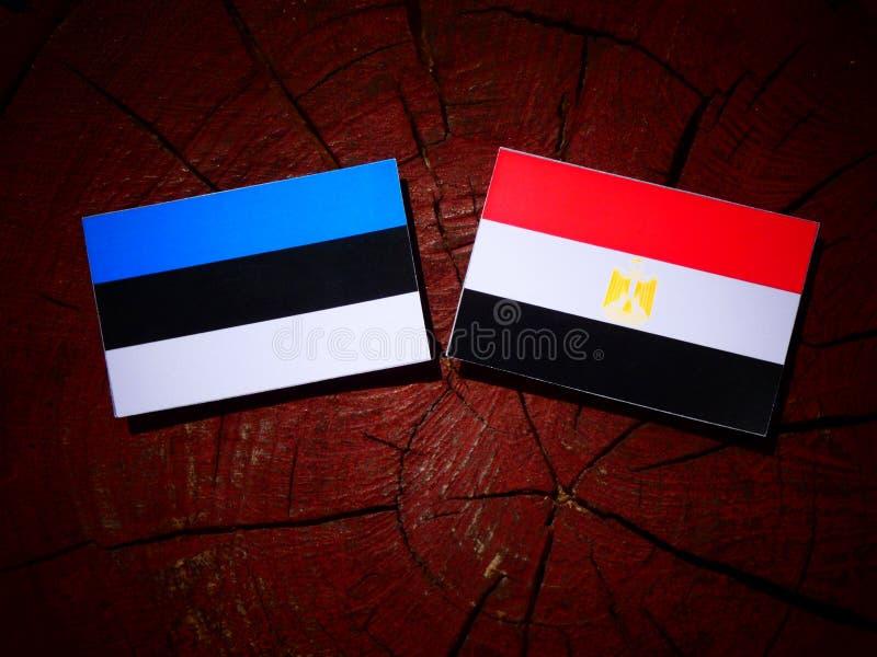 De vlag van Estland met Egyptische vlag op een boomstomp stock foto