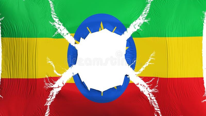 De vlag van Ethiopië met een gat stock illustratie