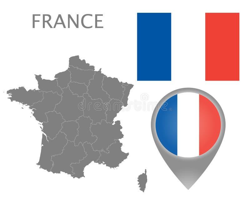 De vlag van Frankrijk, kaartwijzer en kaart met administratieve afdelingen royalty-vrije illustratie