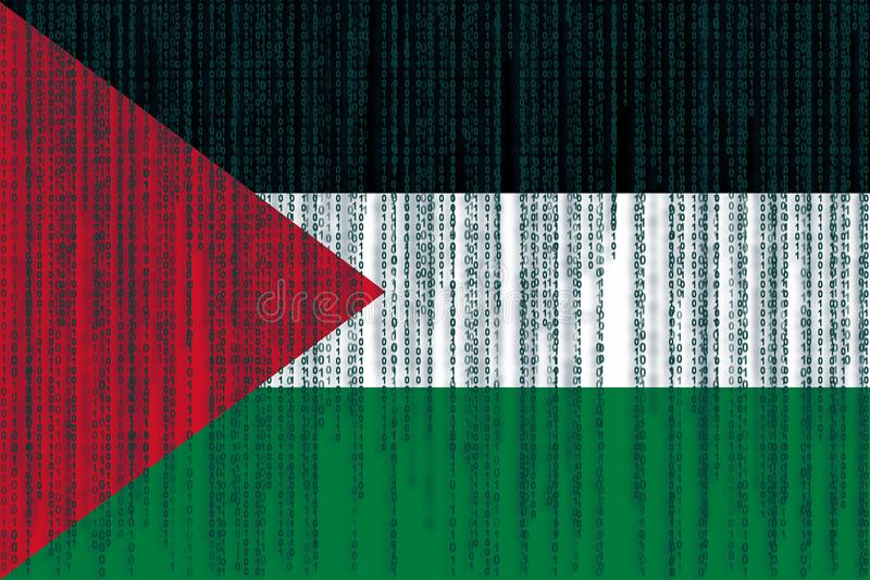 De vlag van gegevensbeschermingpalestina Palestijnse vlag met binaire kabeljauw stock illustratie
