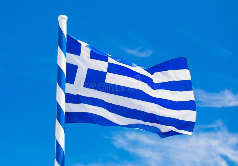 De vlag van Griekenland in wind stock foto