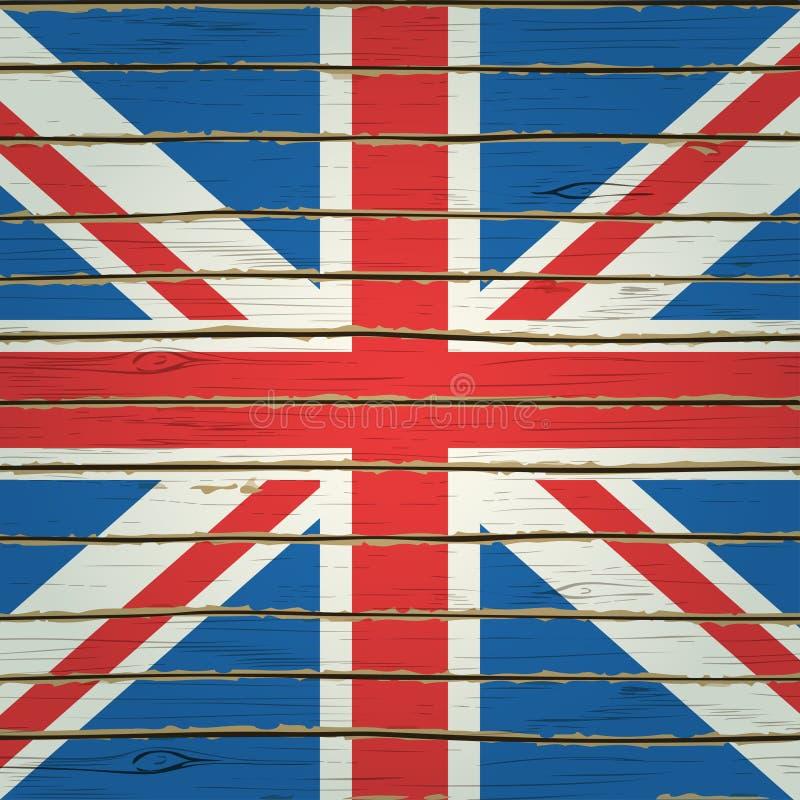 De Vlag van Groot-Brittannië op Houten Textuur royalty-vrije illustratie