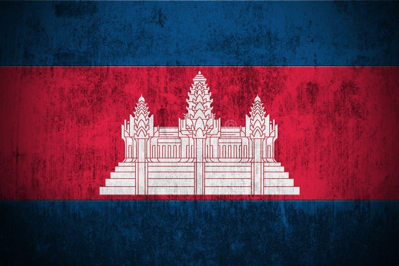 De Vlag van Grunge van Kambodja stock illustratie