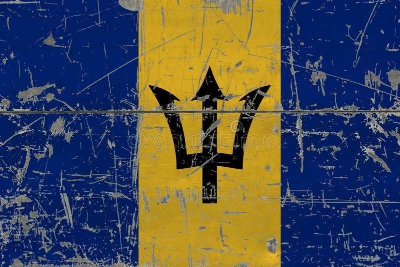 De vlag van Grungebarbados op oude gekraste houten oppervlakte Nationale uitstekende achtergrond stock fotografie