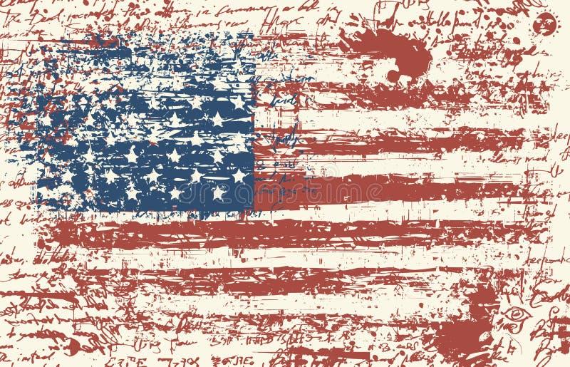 De Vlag van de Grungev Uitstekende Amerikaanse vlag Vector royalty-vrije illustratie