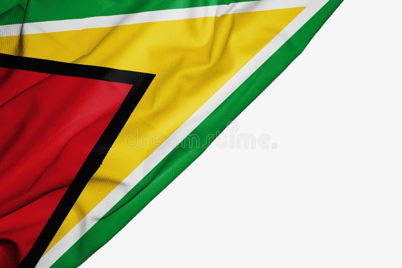De vlag van Guyana van stof met copyspace voor uw tekst op witte achtergrond vector illustratie
