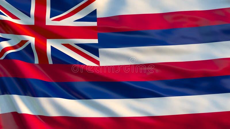 De vlag van Hawaï De golvende staat van vlagofhawaii, de Verenigde Staten van Amerika stock illustratie