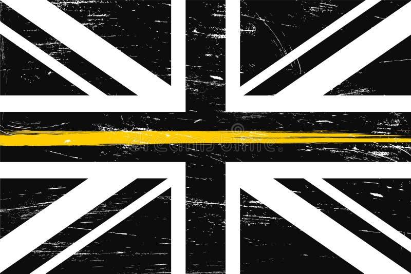 De vlag van het Grungeverenigd koninkrijk met een dunne gele Lijn vector illustratie