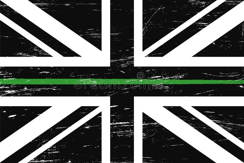 De vlag van het Grungeverenigd koninkrijk met een dunne groene lijn royalty-vrije illustratie