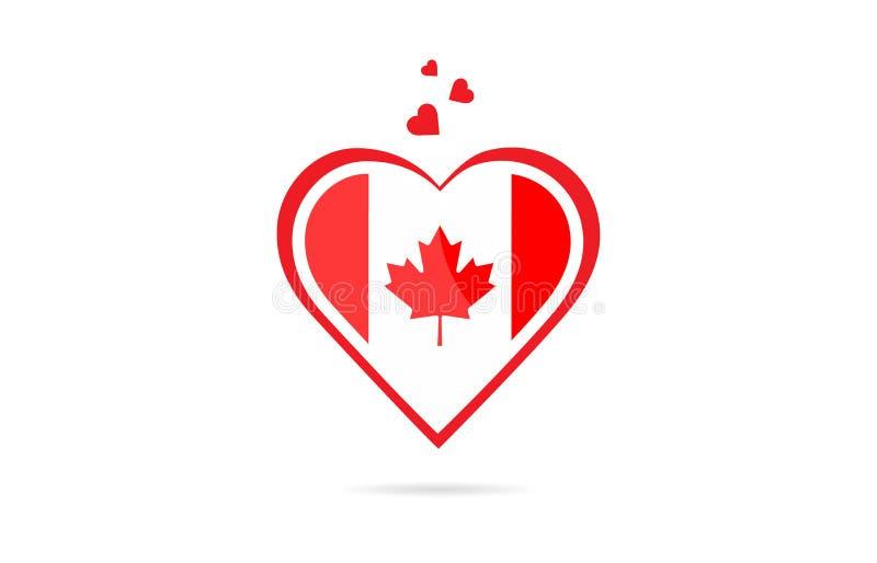 De vlag van het land van Canada binnen creatief het embleemontwerp van het liefdehart stock illustratie
