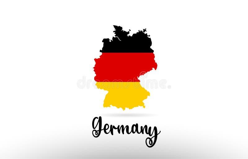 De vlag van het land van Duitsland binnen het embleem van het het ontwerppictogram van de kaartcontour vector illustratie