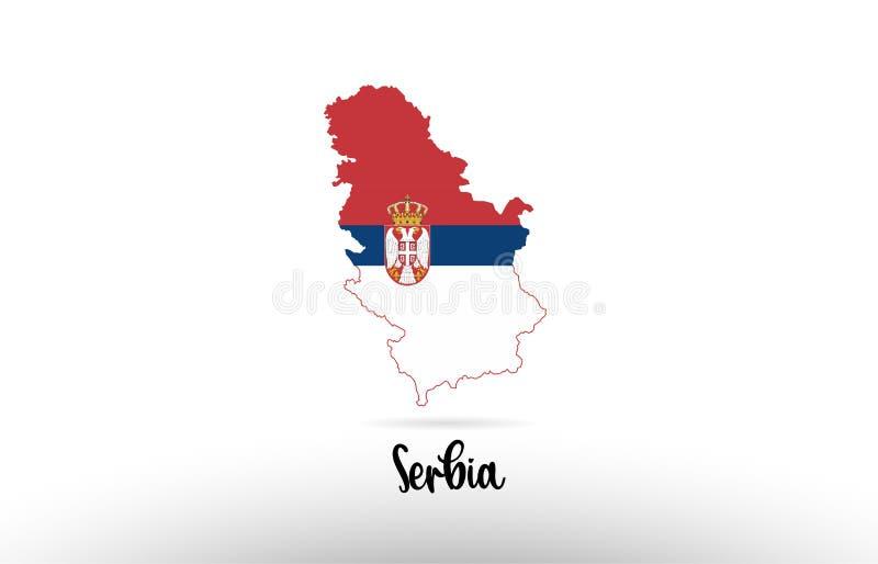 De vlag van het land van Servië binnen het embleem van het het ontwerppictogram van de kaartcontour royalty-vrije illustratie