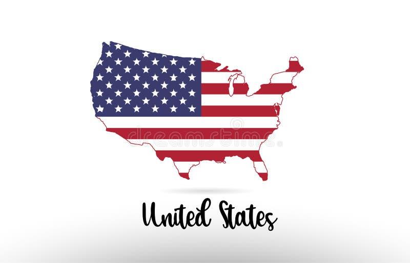 De vlag van het land van Verenigde Staten Amerika de V.S. binnen het embleem van het het ontwerppictogram van de kaartcontour stock illustratie