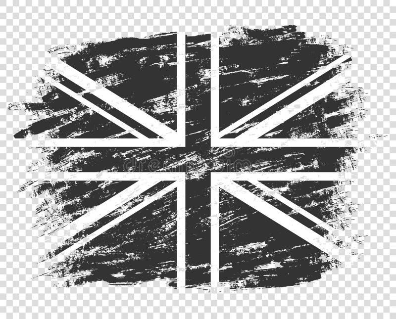 De vlag van het silhouet van Groot-Brittannië is zwart-wit het UK grunge, samenvatting Zwart-wit stijl ge?soleerd op een transpar royalty-vrije illustratie