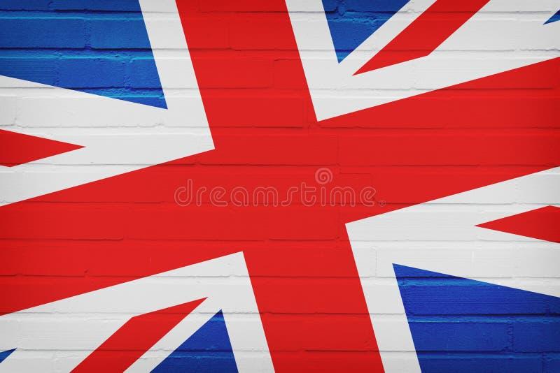 De VLAG van het Verenigd Koninkrijk OP BAKSTENEN MUUR wordt GESCHILDERD die royalty-vrije stock foto's
