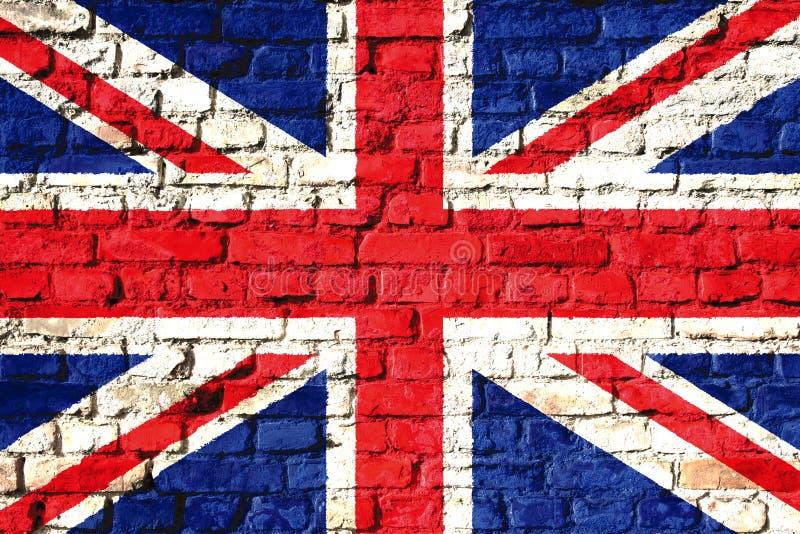 De vlag van het Verenigd Koninkrijk het UK op een bakstenen muur wordt geschilderd die royalty-vrije stock fotografie