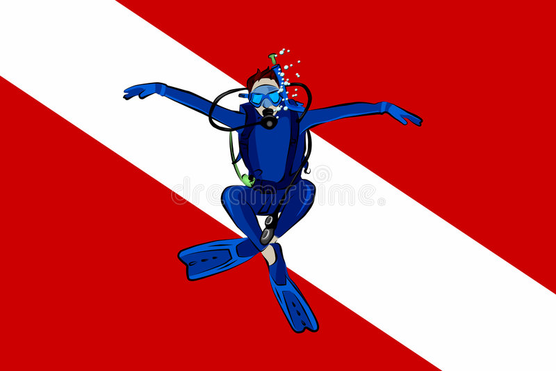 De Vlag van het vrij duiken royalty-vrije illustratie
