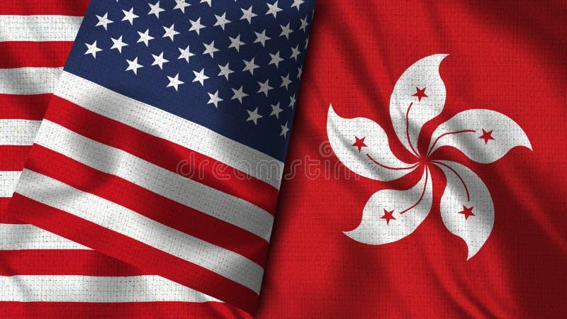 De Vlag van Hong Kong en van de V.S. - 3D illustratie Twee Vlag royalty-vrije illustratie