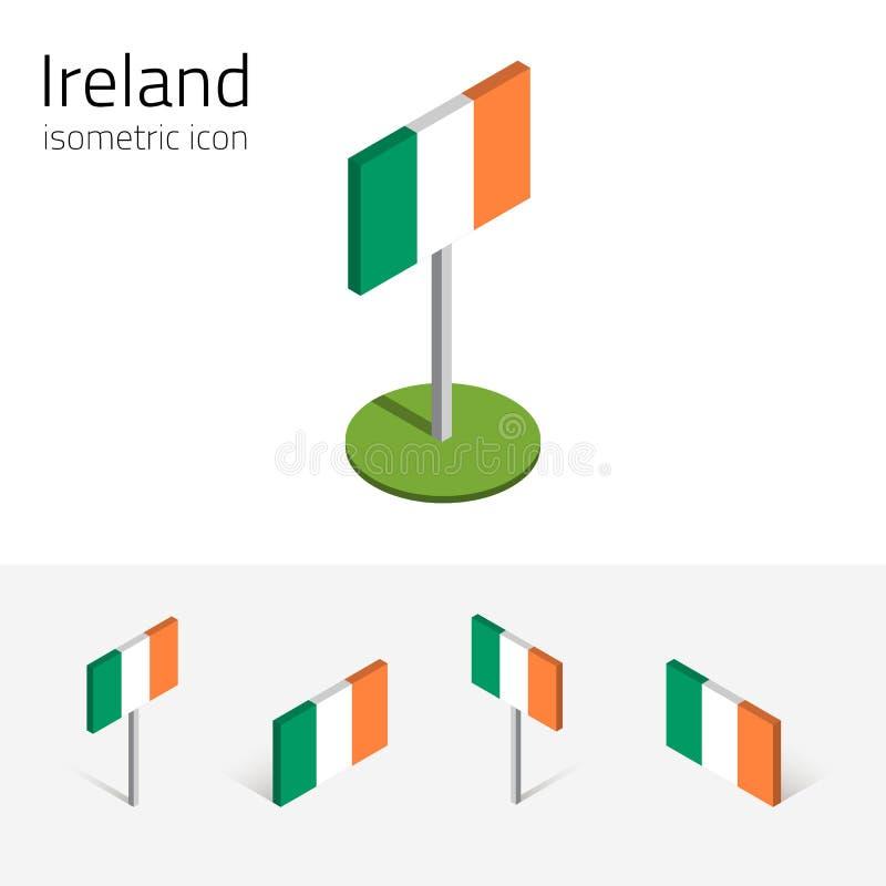 De vlag van Ierland, vectorreeks 3D isometrische pictogrammen vector illustratie