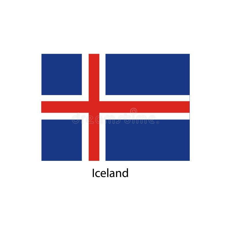 De vlag van IJsland, officieel kleuren en aandeel correct De nationale vlag van IJsland vector illustratie