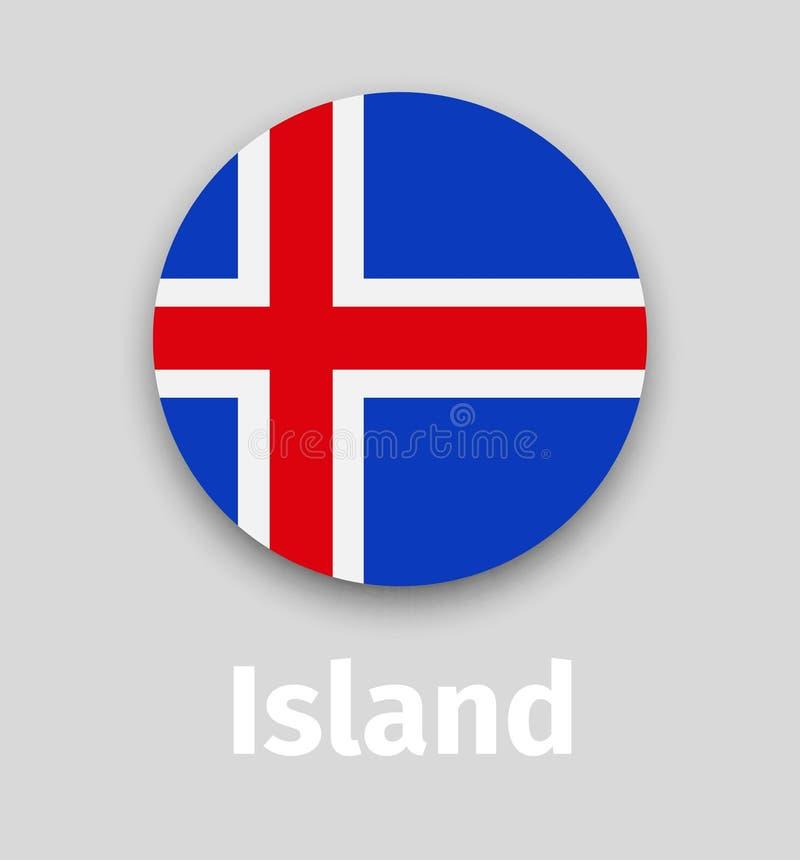 De vlag van IJsland, rond pictogram met schaduw stock illustratie