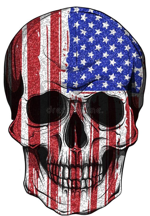 De Vlag van illustratieamerika op een schedel wordt geschilderd die royalty-vrije illustratie