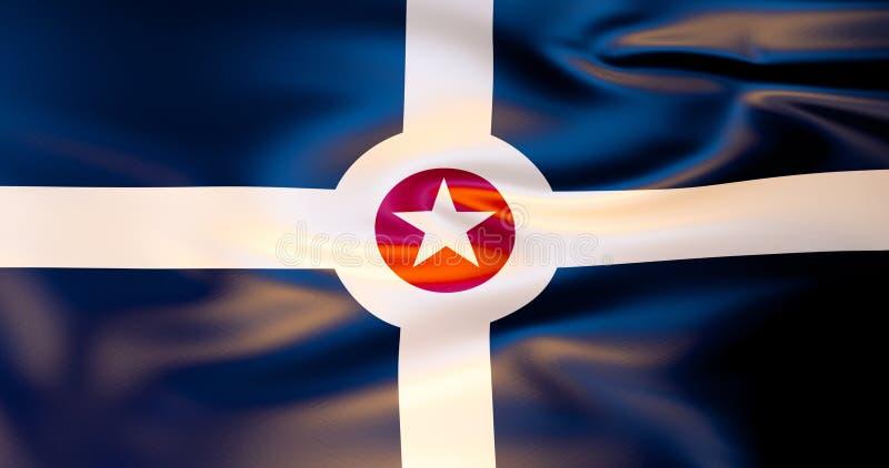 De vlag van Indianapolis in de wind 3D Illustratie royalty-vrije illustratie