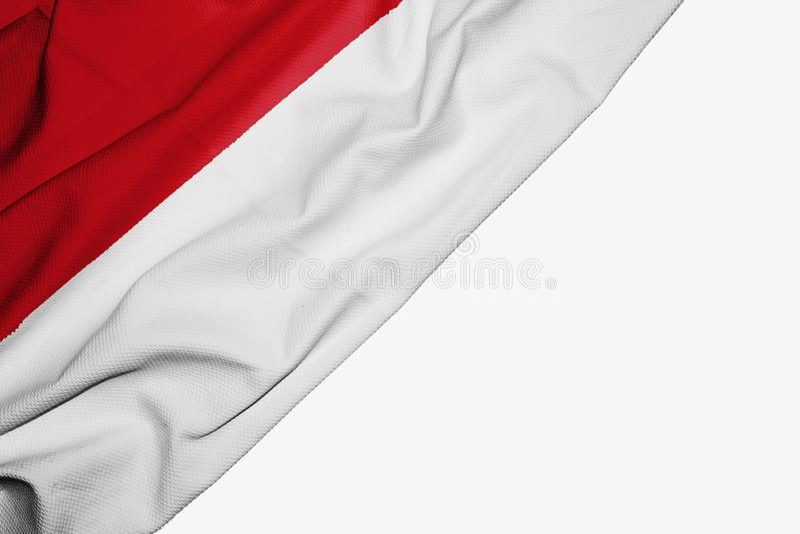 De vlag van Indonesië van stof met copyspace voor uw tekst op witte achtergrond royalty-vrije illustratie