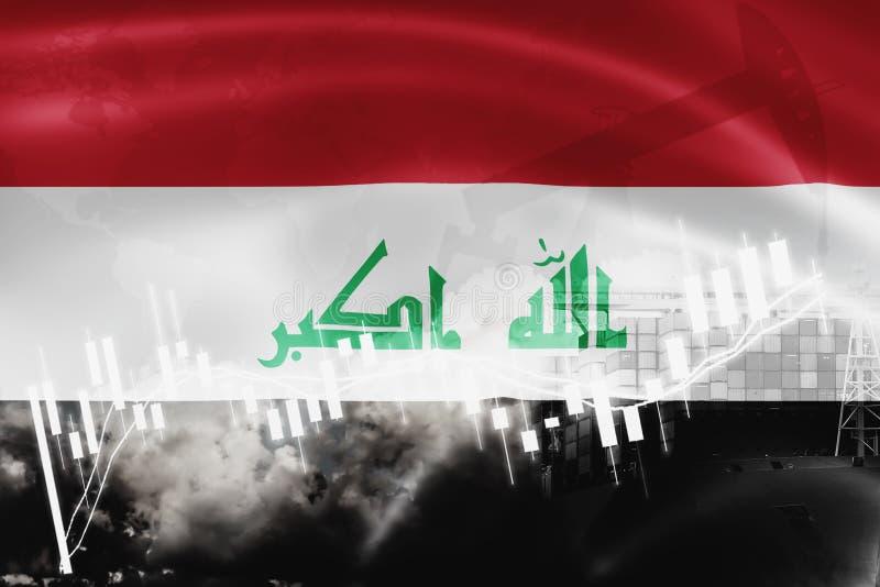 De vlag van Irak, effectenbeurs, uitwisselingseconomie en Handel, olieproductie, containerschip in de uitvoer en de invoerzaken e royalty-vrije illustratie