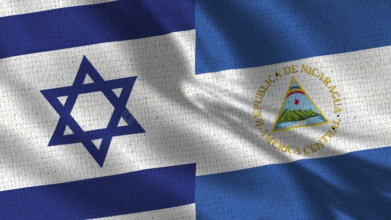 De Vlag van Israël en van Nicaragua - Twee Vlaggen samen royalty-vrije stock afbeelding