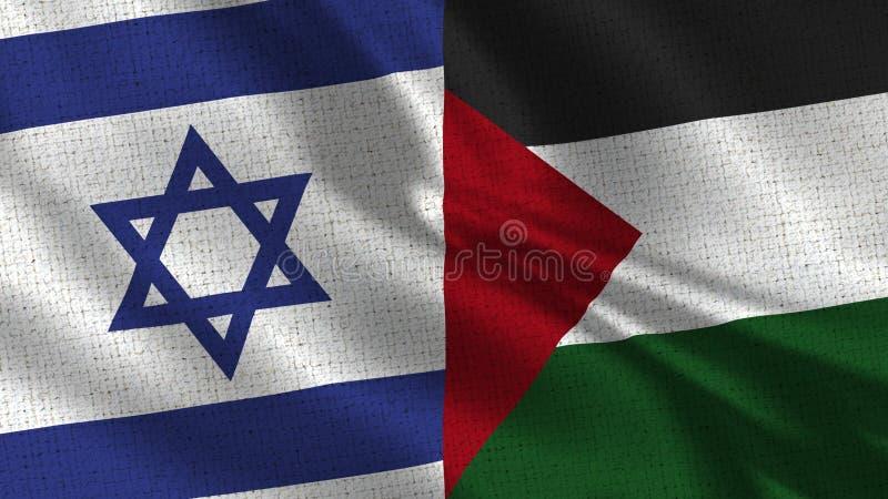 De Vlag van Israël en van Palestina - Twee Vlaggen samen stock afbeeldingen