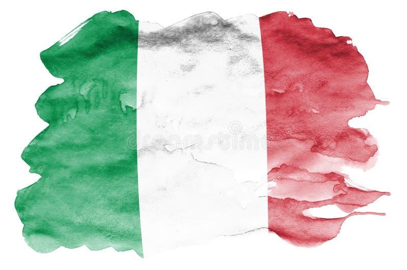 De vlag van Italië wordt in vloeibare die waterverfstijl afgeschilderd op witte achtergrond wordt geïsoleerd royalty-vrije illustratie