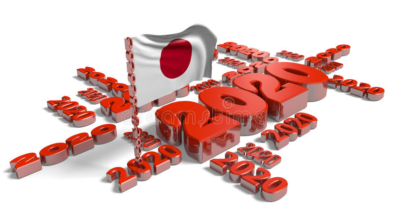 2020 de Vlag van Japan royalty-vrije illustratie