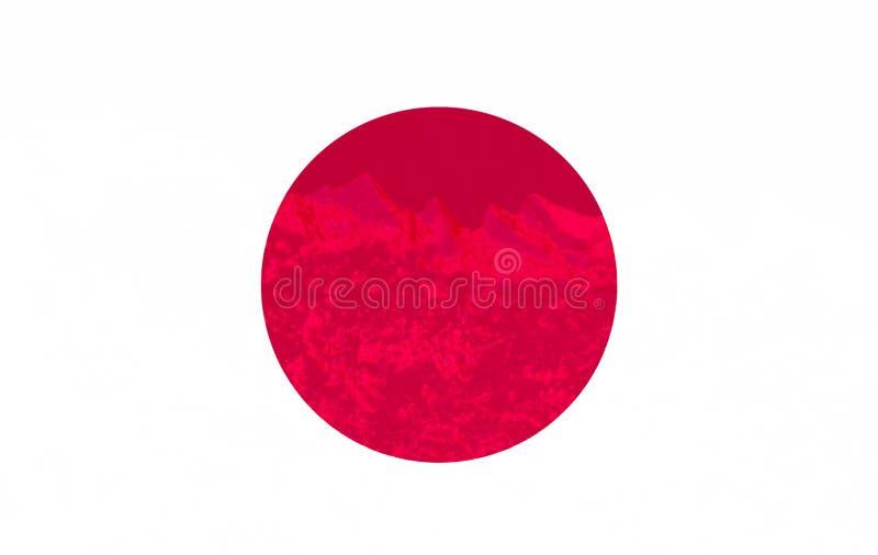 De vlag van Japan is geschilderd op de textuur van het ijs, het land van de het toenemen zon royalty-vrije stock fotografie