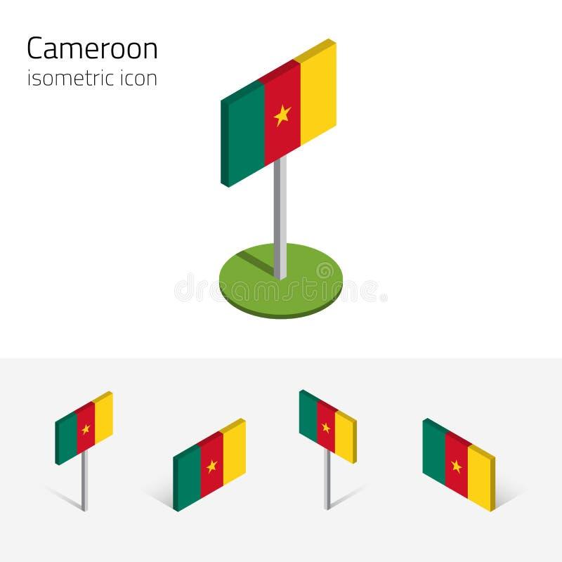De vlag van Kameroen, vectorreeks 3D isometrische vlakke pictogrammen stock illustratie