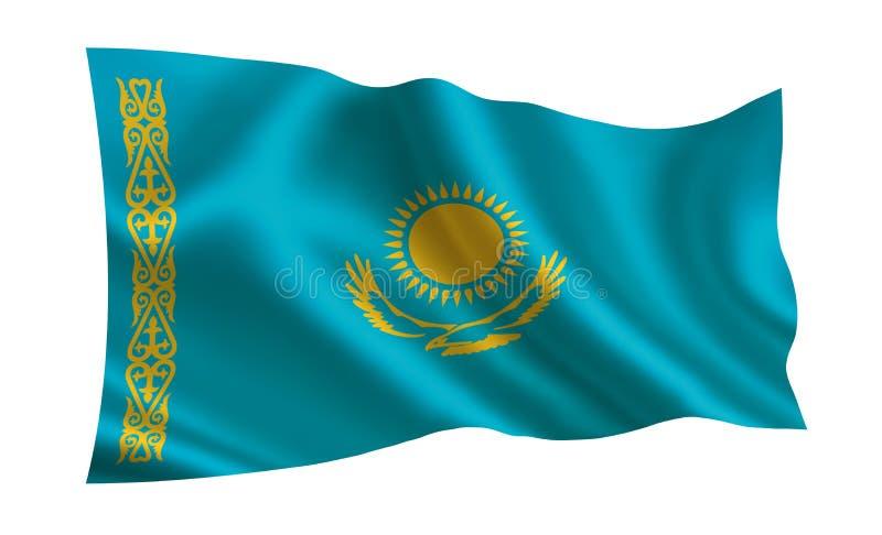 De vlag van Kazachstan Een reeks `-Vlaggen van de wereld ` Het land - de vlag van Kazachstan stock illustratie