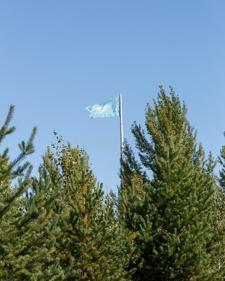 De vlag van Kazachstan op de vlaggestok achter de bomen Karaganda, Kaz royalty-vrije stock afbeelding