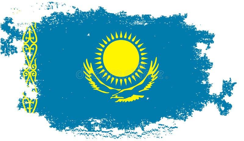 De vlag van Grungekazachstan stock illustratie