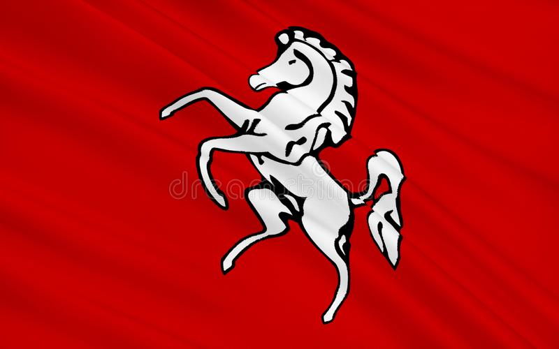 De vlag van Kent is een provincie, Engeland stock afbeelding