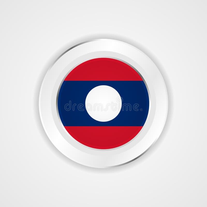 De vlag van Laos in glanzend pictogram royalty-vrije illustratie
