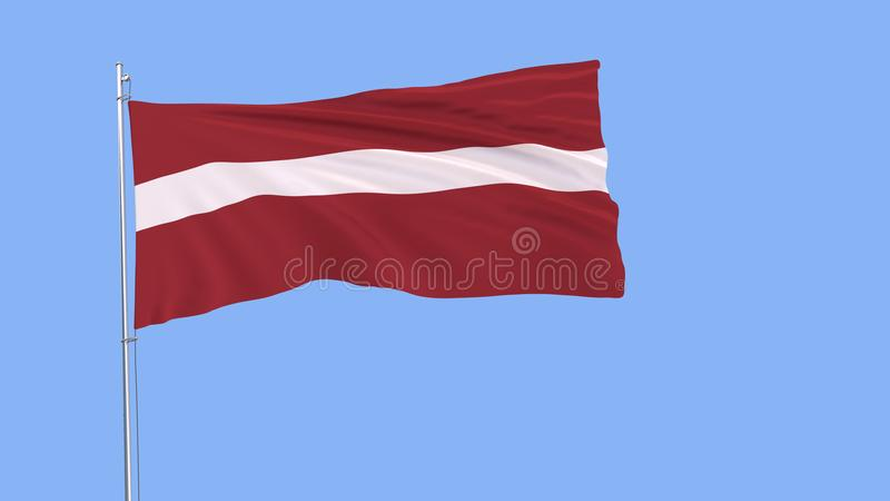 De vlag van Letland op de vlaggestok die in de wind op zuivere blauwe achtergrond, het 3d teruggeven fladderen royalty-vrije illustratie