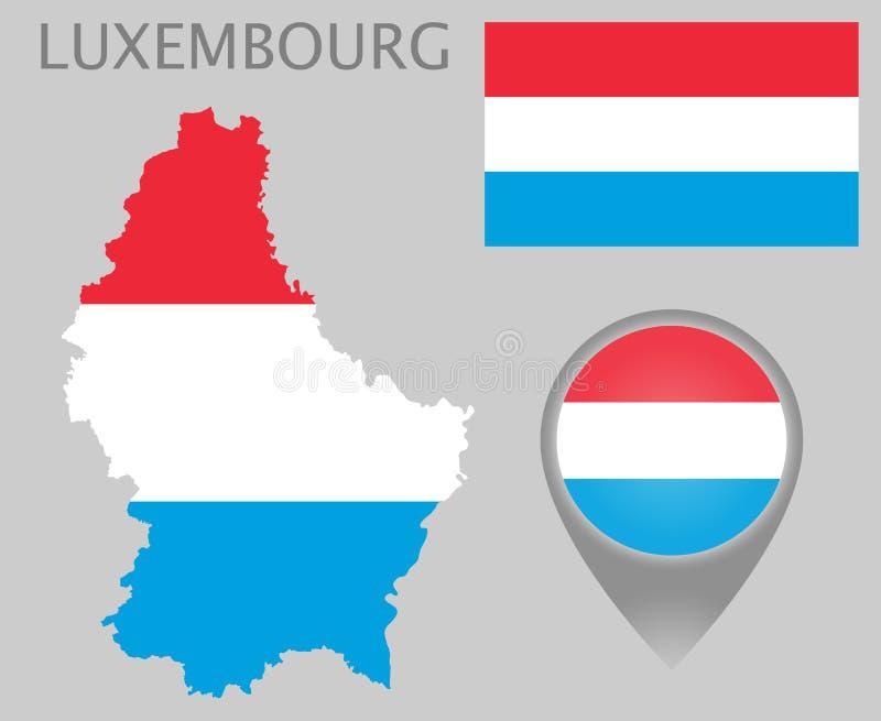 De vlag van Luxemburg, kaart en kaartwijzer vector illustratie